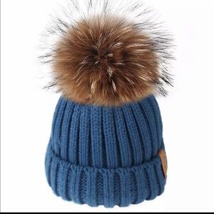 Blue baby boy pom pom hat
